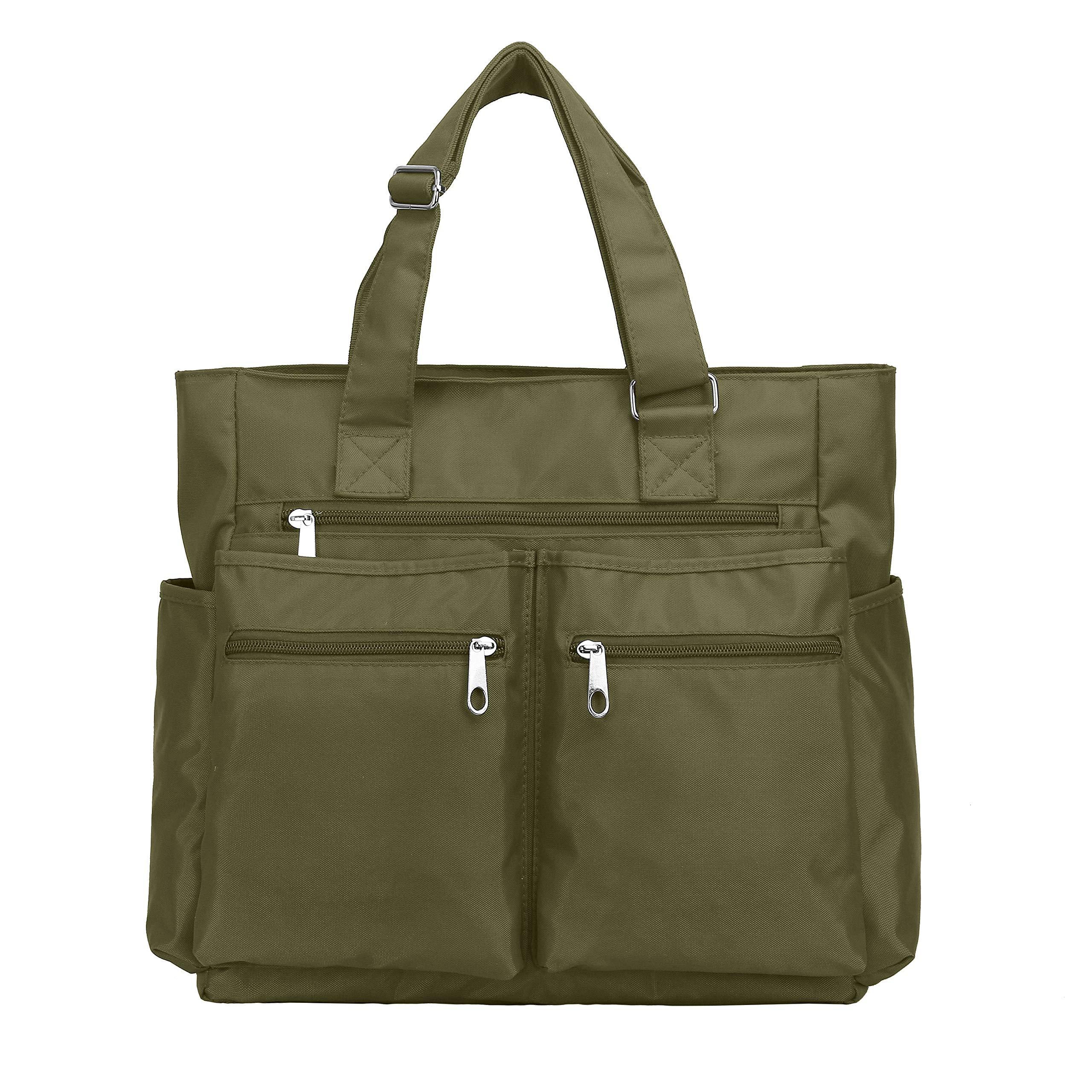 Waterproof Nylon Oxford Multi-pocket Tote Bags Fashion Travel Laptop Briefcase Work Purse for Women & Men (Army Green) by VOLGANIK ROCK