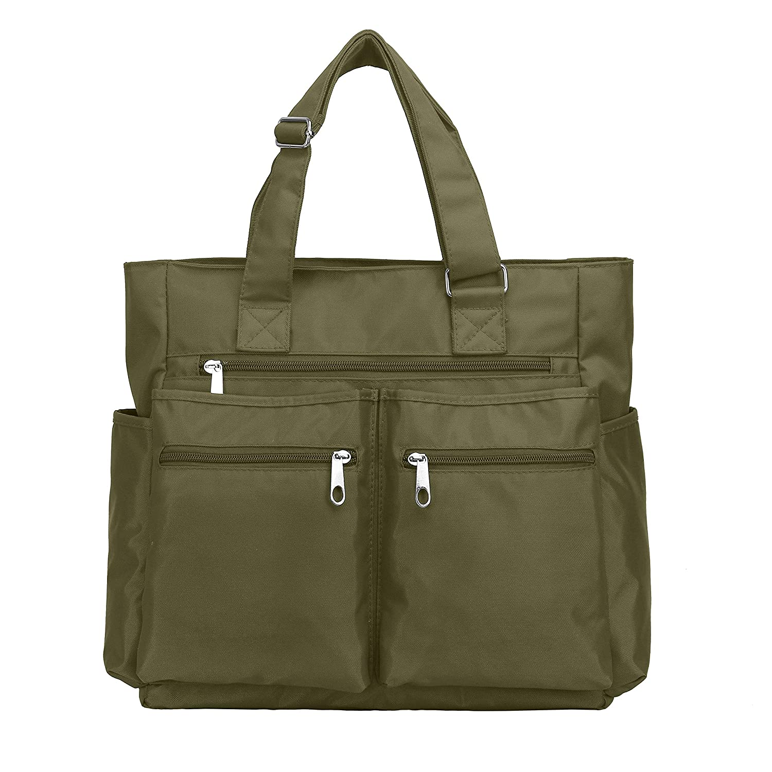 e6867fa04 Amazon.com: Waterproof Nylon Oxford Multi-pocket Tote Bags Fashion Travel  Laptop Briefcase Work Purse for Women & Men (Army Green): Shoes
