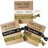 "Set of 12 "" To Have and to Hold Your Hair back "" Bachelorette Party Hair Ties by Bachelorette Box. Includes Bride, Maid of Honor, and Team Bride designs."