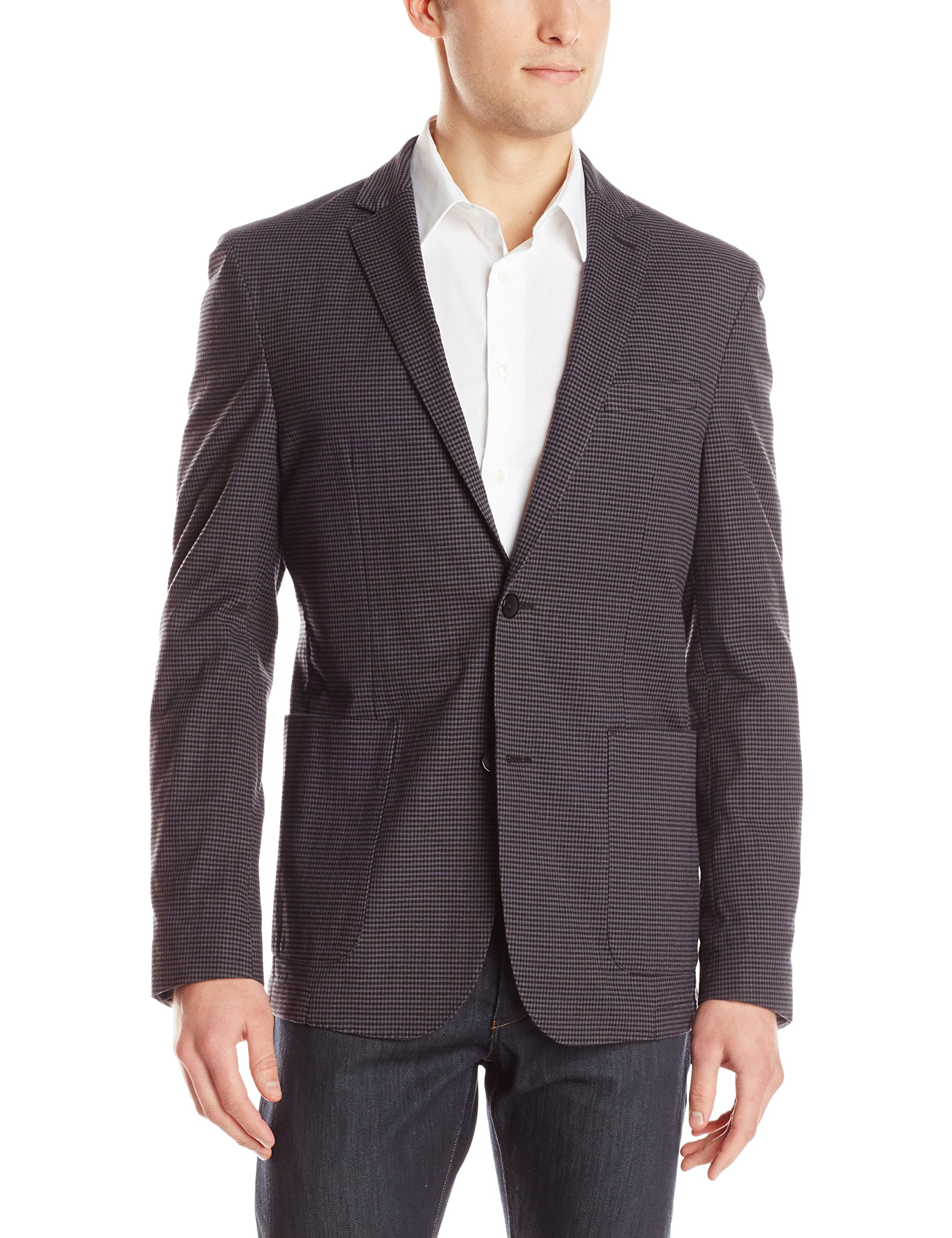 Vince Camuto Men's Air Jacket, Charcoal/Black Fine Gingham Check, 40/Medium