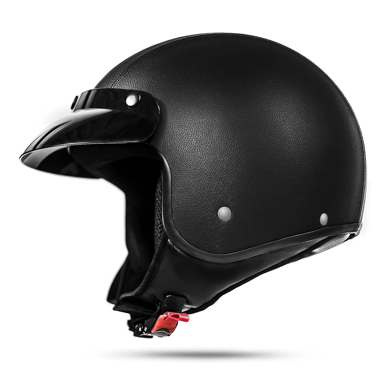 ATO Moto Classic Leder Jethelm Motorradhelm in Schwarz matt extrem leicht ECE 2205 - Grö ß e: L 59-60cm ATO-Helme 033 Leder L