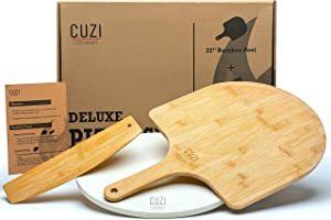 """Cuzi Gourmet XL 14"""" Pizza Making Kit (3 Pieces) - All-Natural Round Cordierite Baking Stone, Bamboo Peel Shovel & Pizza Cutter Slicer - Shock Resistant Makes Large Artisan Pizzas for Grill, Oven, BBQ"""