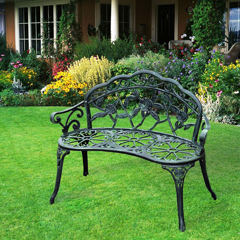 GHP Loveseat-Antique Green Aluminum Garden Bench Furniture