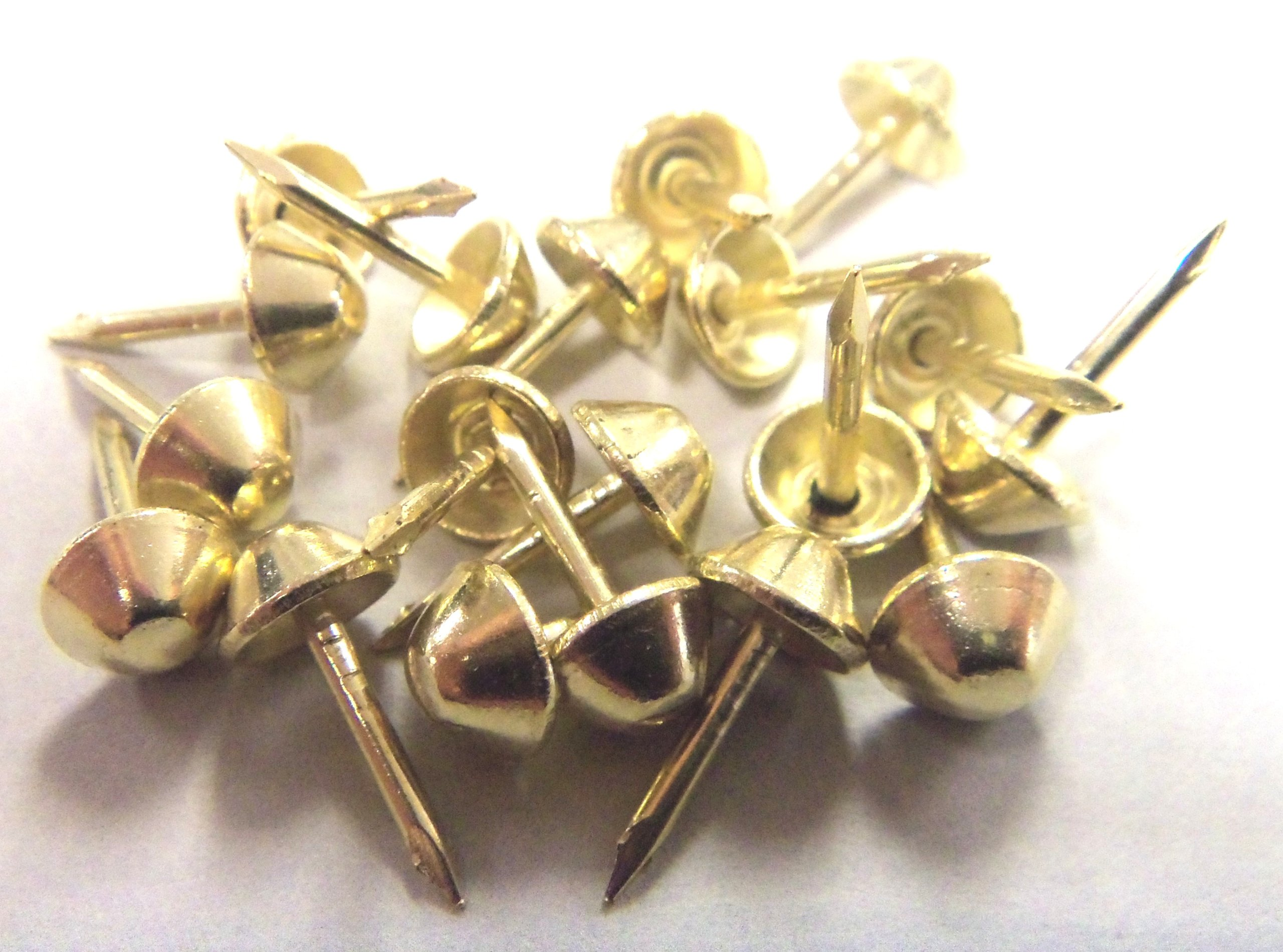 1000 pcs Cone Head Tapered Decorative Tack Nail Upholstery Stud Bright Brass Plated
