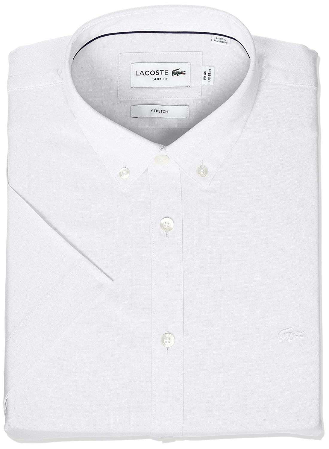 61518d57 Lacoste Men's Short Sleeve Solid Stretch Pinpoint Collar Slim Fit ...
