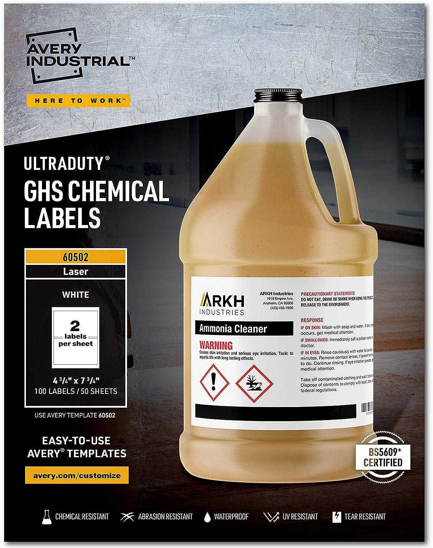 Avery UltraDuty GHS Chemical Labels for Laser Printers, Waterproof, UV Resistant, 4.75