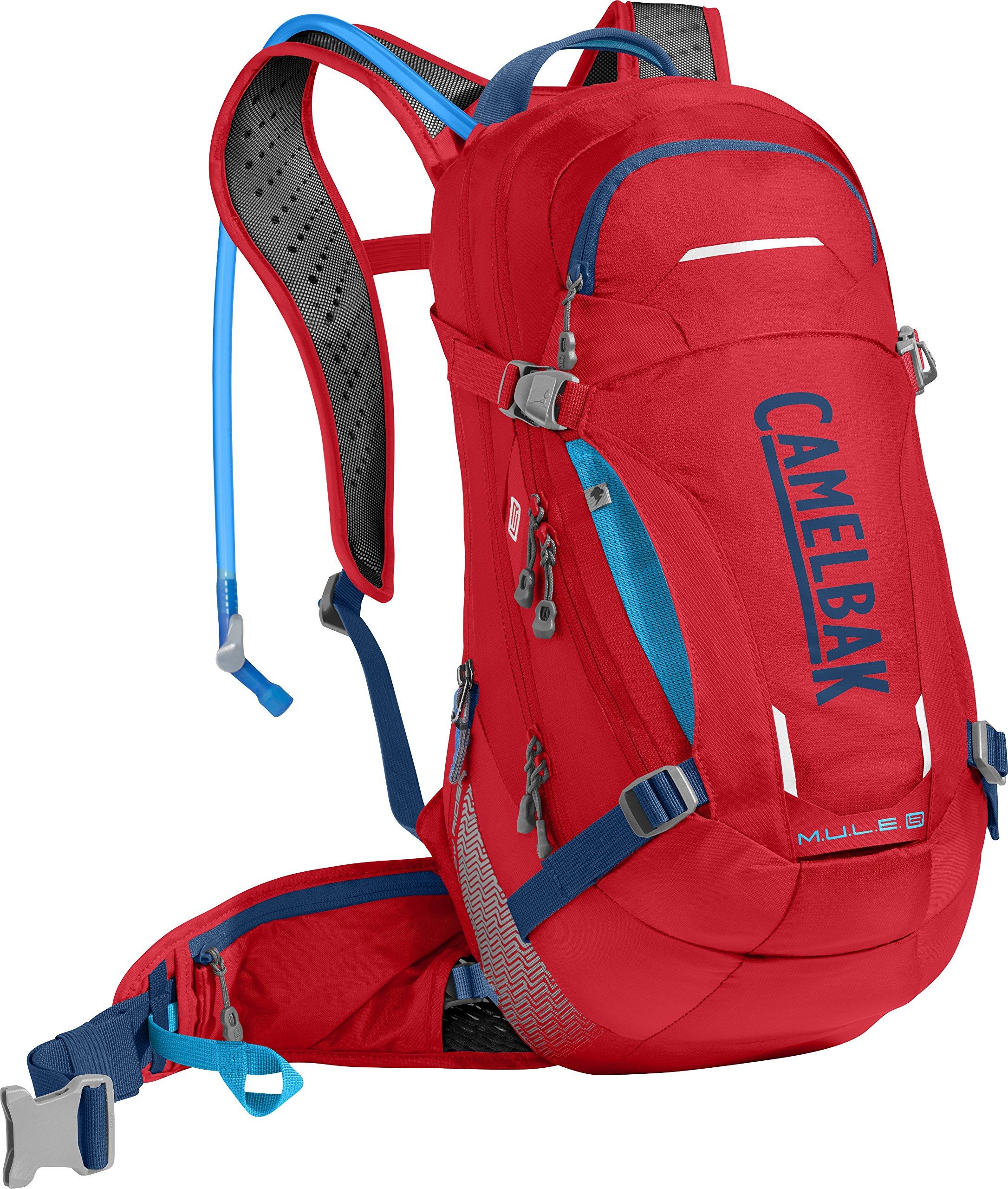 CamelBak M.U.L.E. LR Crux Lumbar Reservoir Hydration Pack, Racing Red/Pitch Blue, 3 L/100 oz