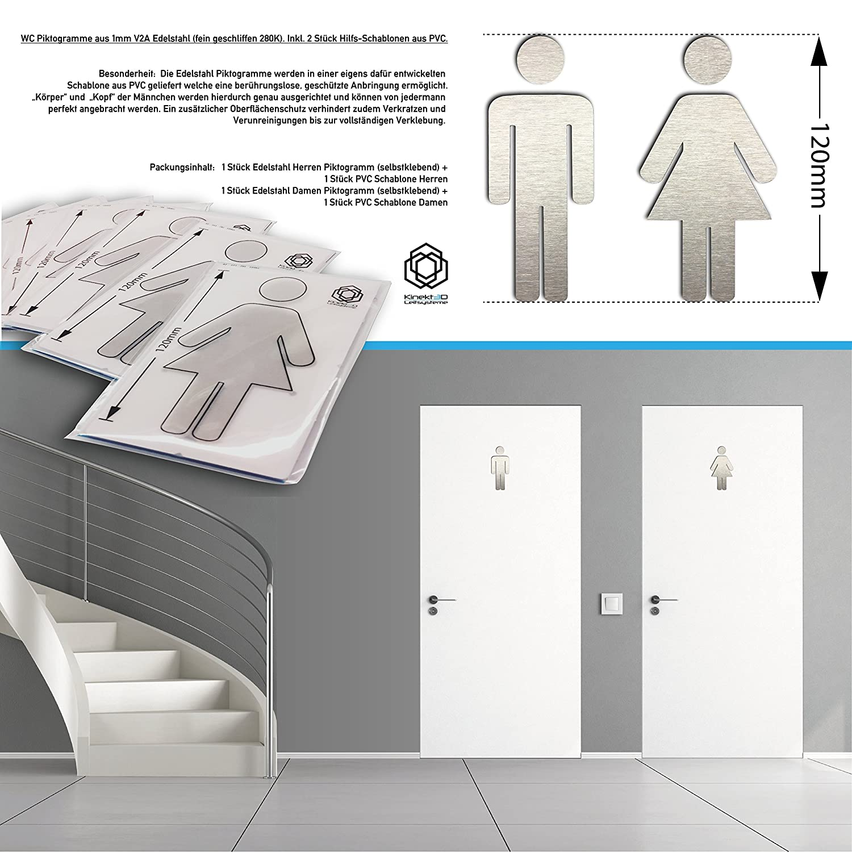 WC Schilder Set aus 100% V2A Edelstahl 1mm (geschliffen) - 120mm ...