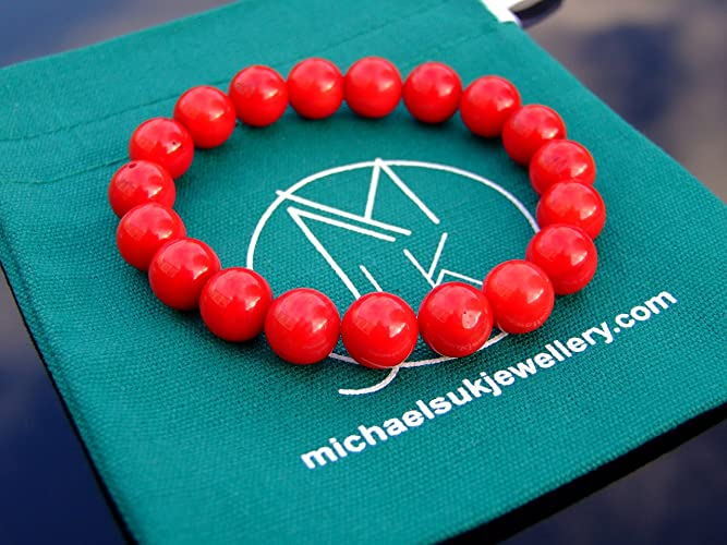Handmade Jewelry | Red Coral 10mm | Natural Dyed Gemstone | Bracelet Beaded Healing Stone Chakra Reiki | With Pouch | FREE UK SHIPPING