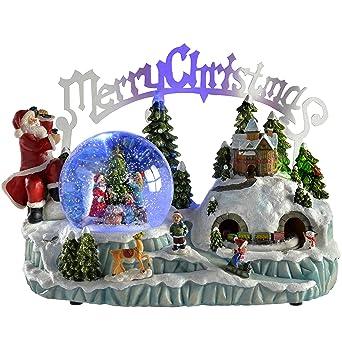 33091a932dd WeRChristmas - Bola de nieve con música e iluminación (30 cm ...