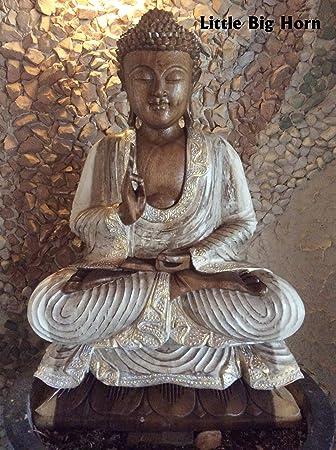 little big horn buddha holz weiss gold braun 0 60 m