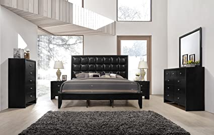 Roundhill Furniture Gloria 350 Black Finish Wood Bed Room Set, Queen Bed,  Dresser, Mirror, 2 Night Stands, Chest