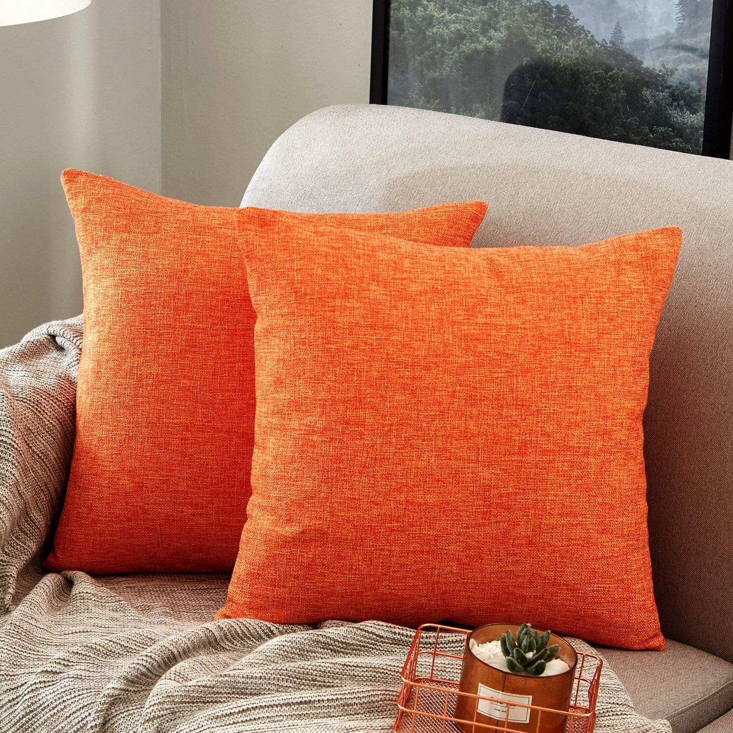 MERNETTE Pack of 2, Pure Square Decorative Throw Pillows Cushion Covers Cases Pillowcases Durable Cotton Linen Blend for Sofa Bedroom Car Chair 18 X 18 inches 45 x 45 cm(18''x18'',2 Pieces, Orange)