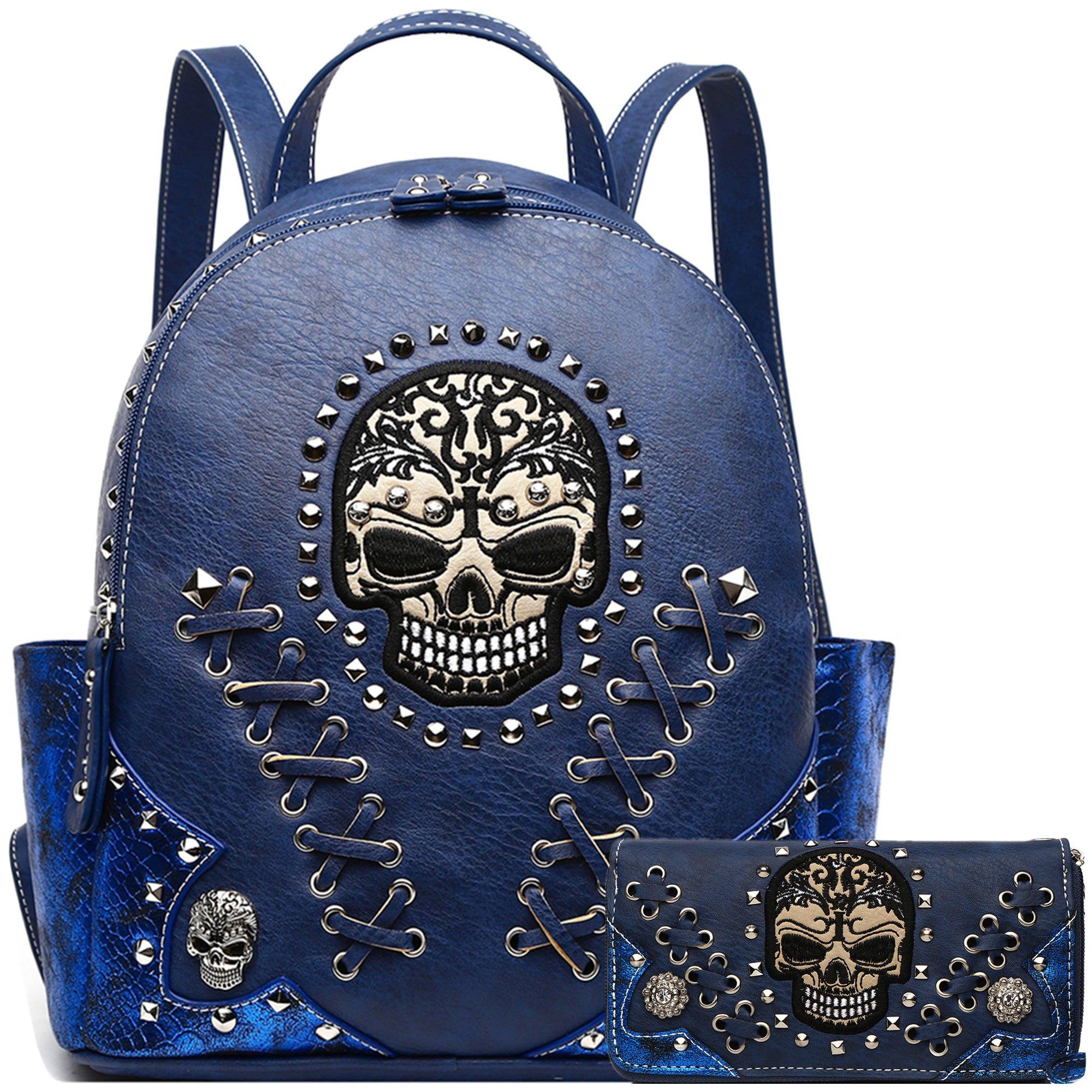 Sugar Skull Punk Art Rivet Stud Biker Purse Women Fashion Backpack Python Daypack Shoulder Bag Wallet Set (Blue Set)
