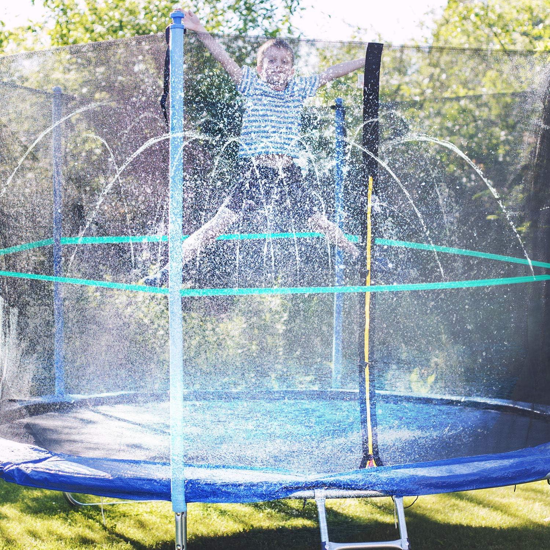 Elcoho 49 Feet Trampoline Sprinkler Summer Trampoline Water Play Sprinkler Outdoor Water Park Trampoline Sprinklers Hose Water Games Yard Toys Sprinklers Trampoline Spray Hose Backyard