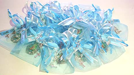 Amazon.com: Blue Boy..Baptism 12 Baby Organza Favor Bags ...