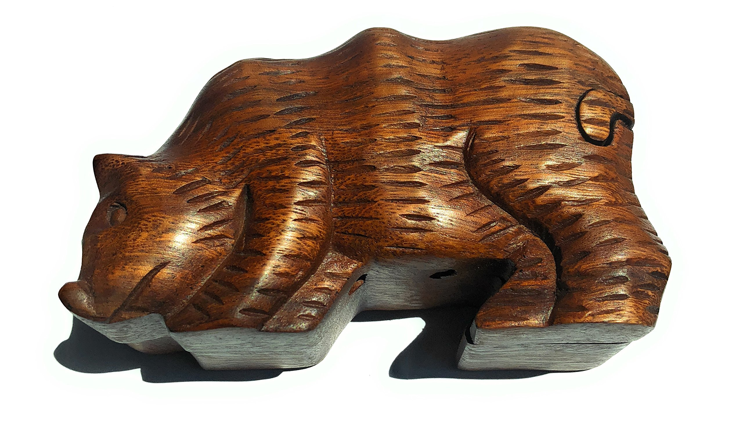WOOD PUZZLE BOX BEAR TRINKET JEWELRY SECRET COMPARTMENT STASH GIFT CARVED WOOD ANIMAL
