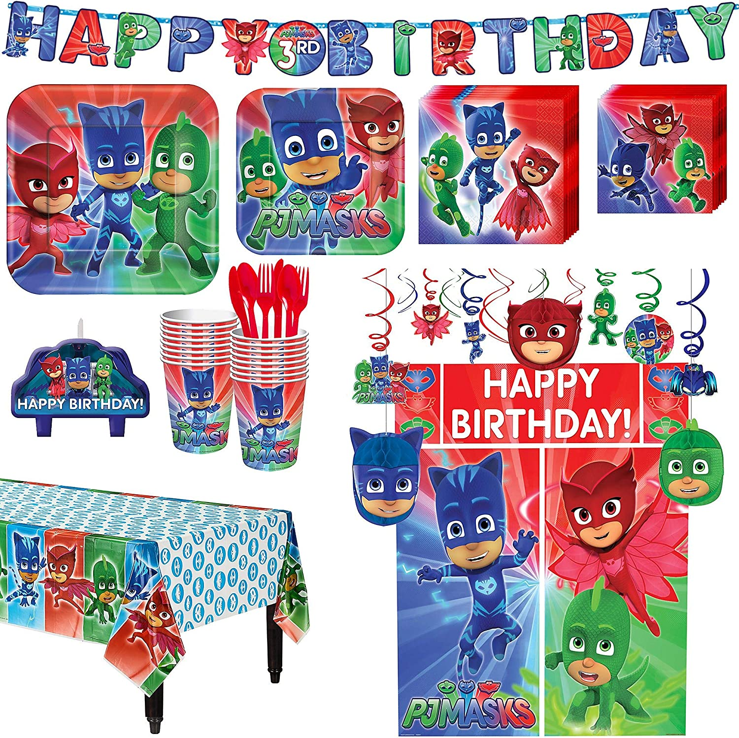 PJ Masks Birthday Party Kit, Includes Happy Birthday Banner and Decorations, Serves 16, by Party City
