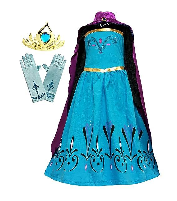 4328e8c59 American Vogue Elsa Coronación disfraz de vestido + capa + guantes + tiara  corona  Amazon.es  Ropa y accesorios
