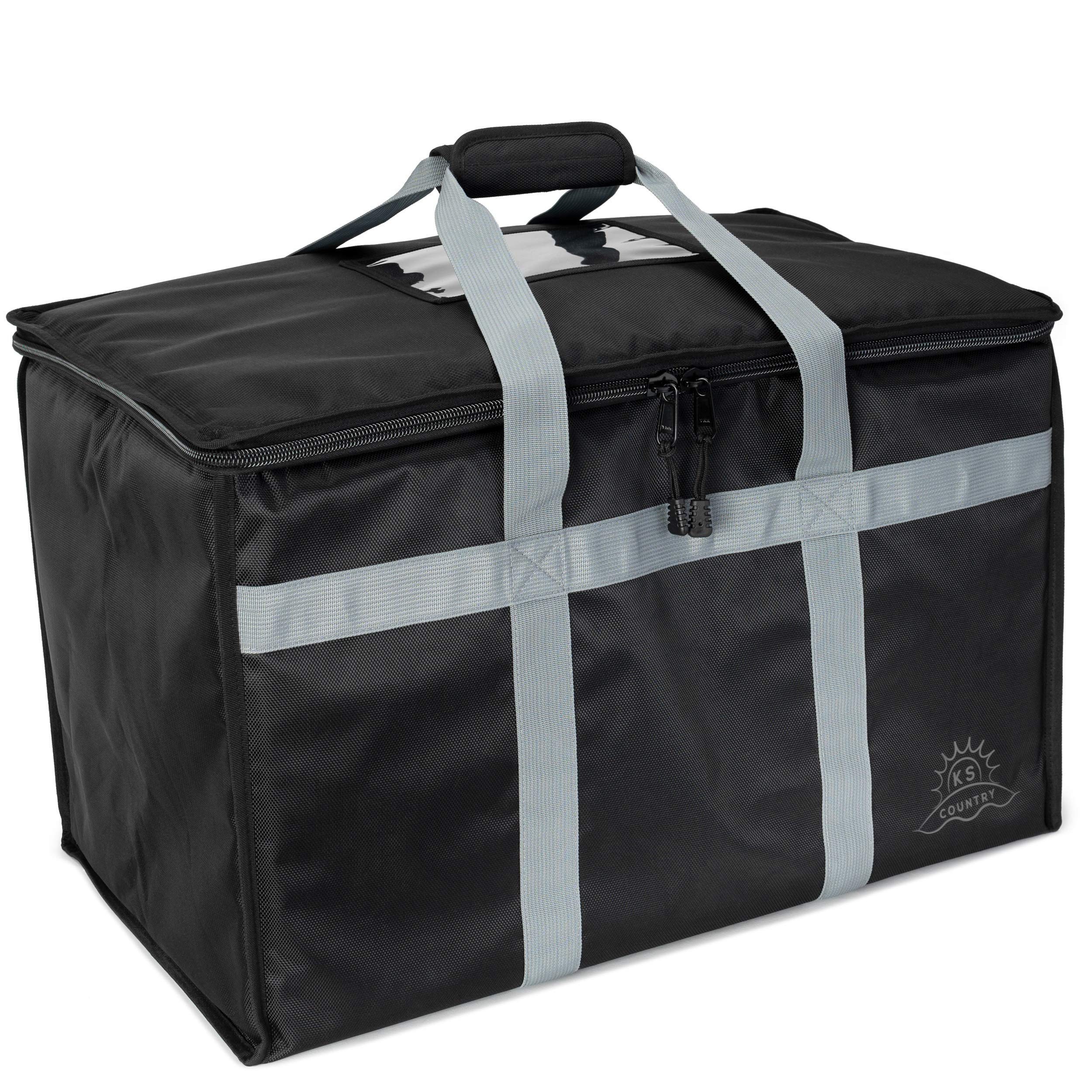 Commercial Insulated Food Delivery Bag by Ks Country - Reusable Grocery Carrier with Thermal Insulation to Keep Meals Hot or Cold - Heavy Duty Zipper - Extra Large and Collapsible Tote Box - Black by Ks Country
