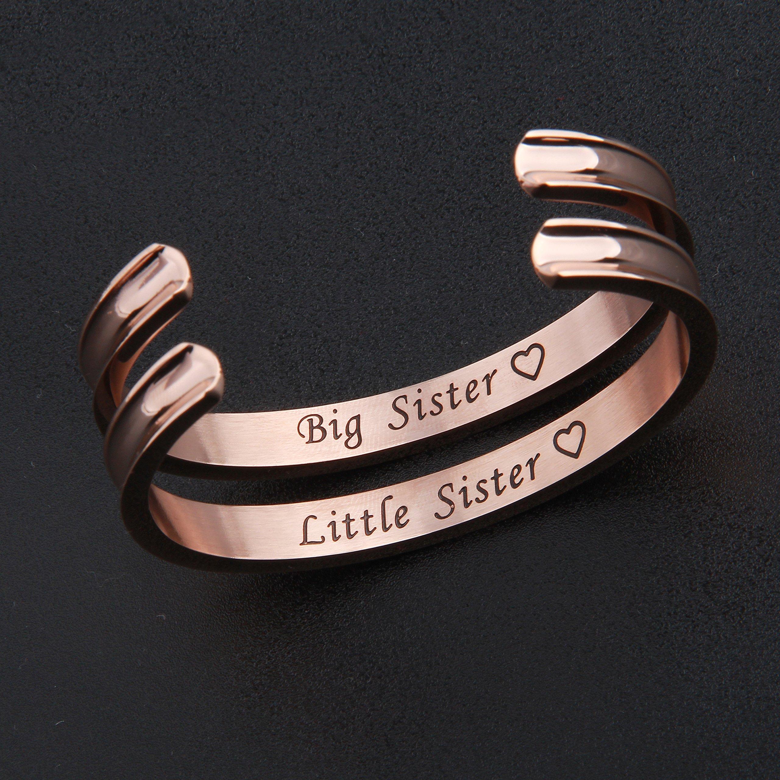 Zuo Bao Big Sister Little Sister Bracelet Hair Tie Bracelet Stainless Steel Cuff Bangle Beacelet (Rose Gold-2 Pcs) by Zuo Bao (Image #2)