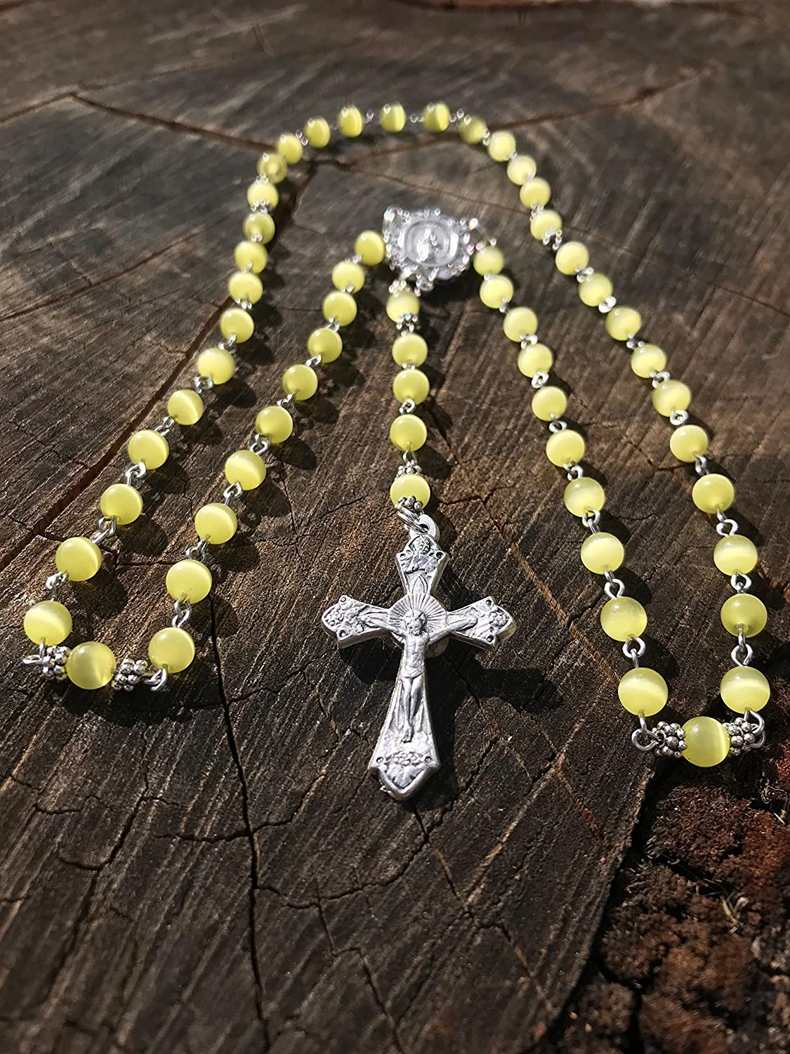 Yellow Rosary Yellow Catholic Rosary Made With Yellow Cats Eye Beads Miraculous Mary Centerpiece and a Traditional Catholic Crucifix