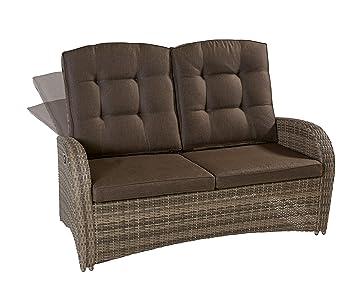 Allibert California 2er-Sofa Poly Rattan Sitzgruppe Zweisitzer-Sofa Gartenmöbel