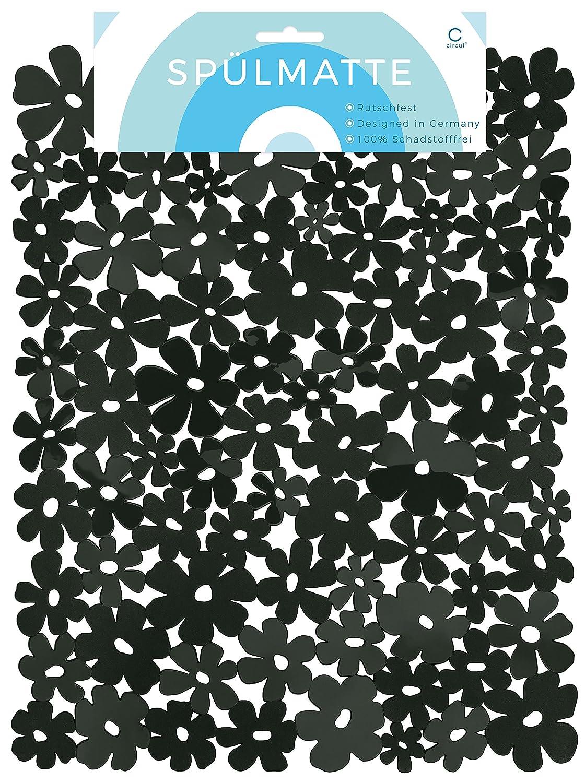Circulation Sink Mat 40x 32cm Black Flower Pattern