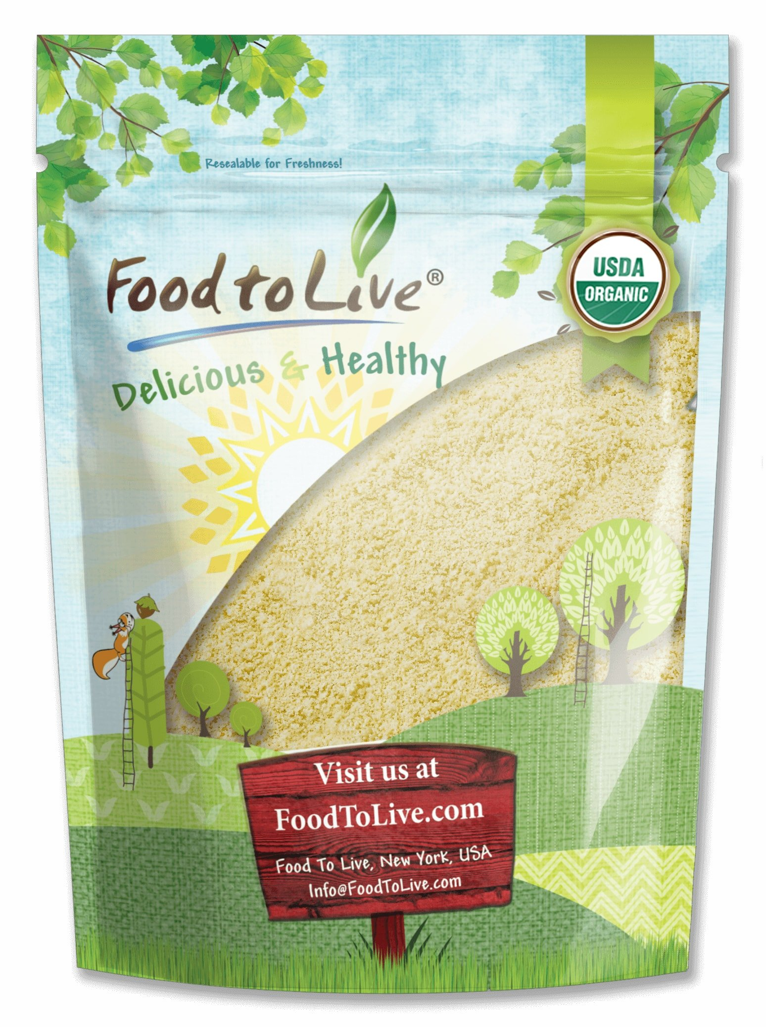 Organic Almond Flour, 4 Pounds - Extra Fine Blanched Prime Meal, Non-GMO, Low Carb, Culinary Grade, Kosher, Keto, Paleo and Vegan Super Powder, Bulk, Product of California by Food to Live