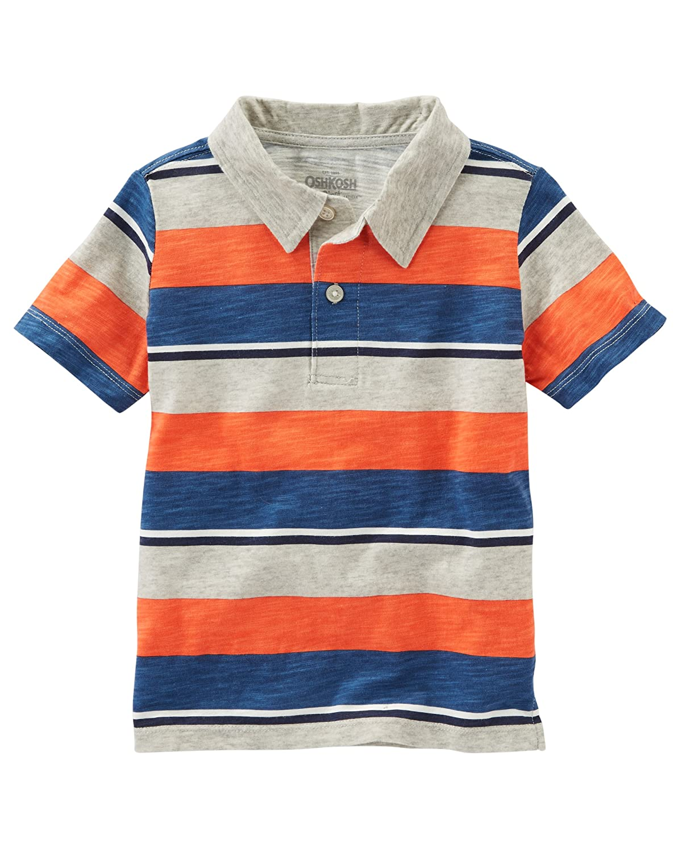 e32346944 Amazon.com: OshKosh B'Gosh Boys' Kids Polo Shirt, Orange Stripe, 4: Clothing