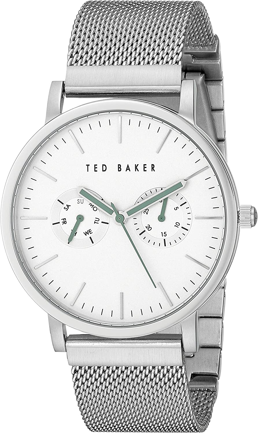 Ted Baker Mens Smart Casual Collection Custom Multifunction Sub-Eye w Contrast Detail Date Mesh Bracelet Watch