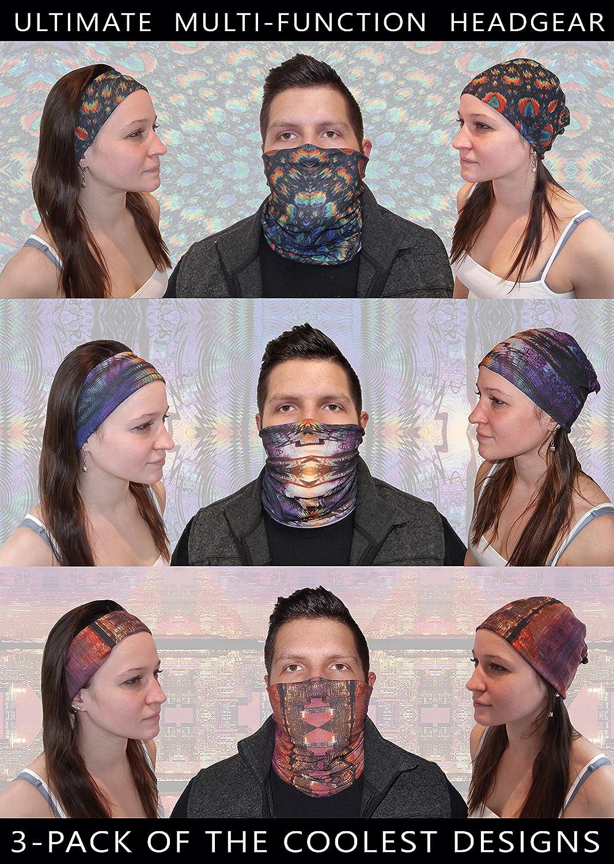 4ea558bd7d Amazon.com  3 Pack Face Mask Bandanna- Tube Neck Scarf- Ripple
