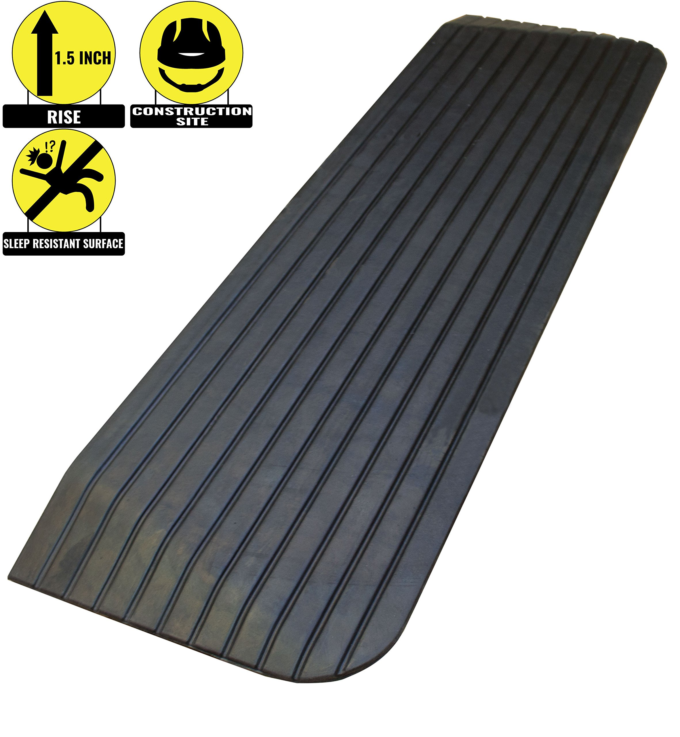 RK Safety RK-RTR02 1.5'' Rise Solid Rubber Power Wheelchair Scooter Threshold Ramp (1 Pc)
