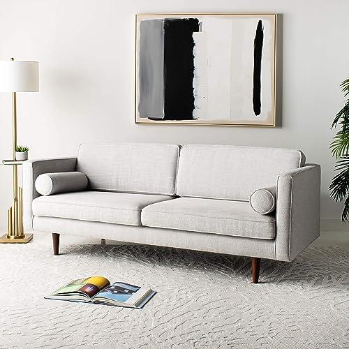 Safavieh Couture Home Hurley Mid-Century Modern Light Grey and Dark Brown Sofa