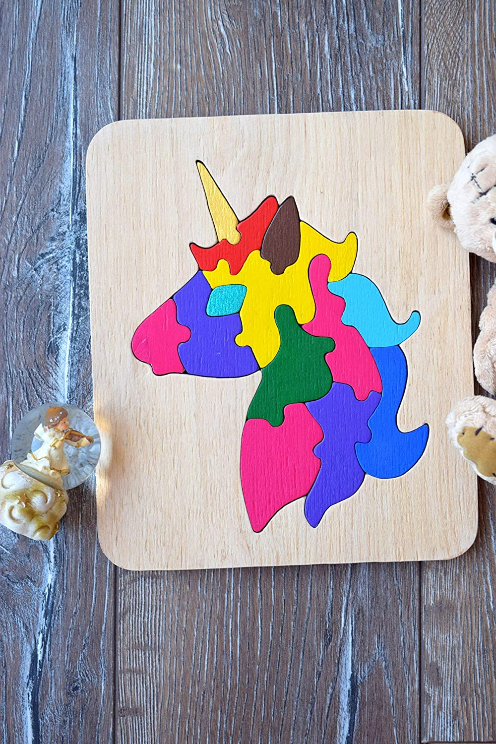 Unicorn Baby wooden toy puzzle Gift for girls