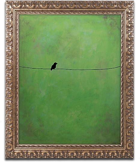 Lone Bird Green Framed Artwork By Nicole Dietz 16 By 20 Gold Ornate Frame Home Kitchen