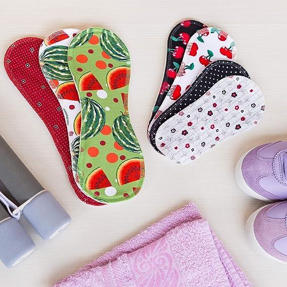 Compresas de tela reutilizables, pack de 7 compresas ecologicas de algodón puro con alas; HECHAS EN LA UE, para menstruación, postparto, incontinencia; ...