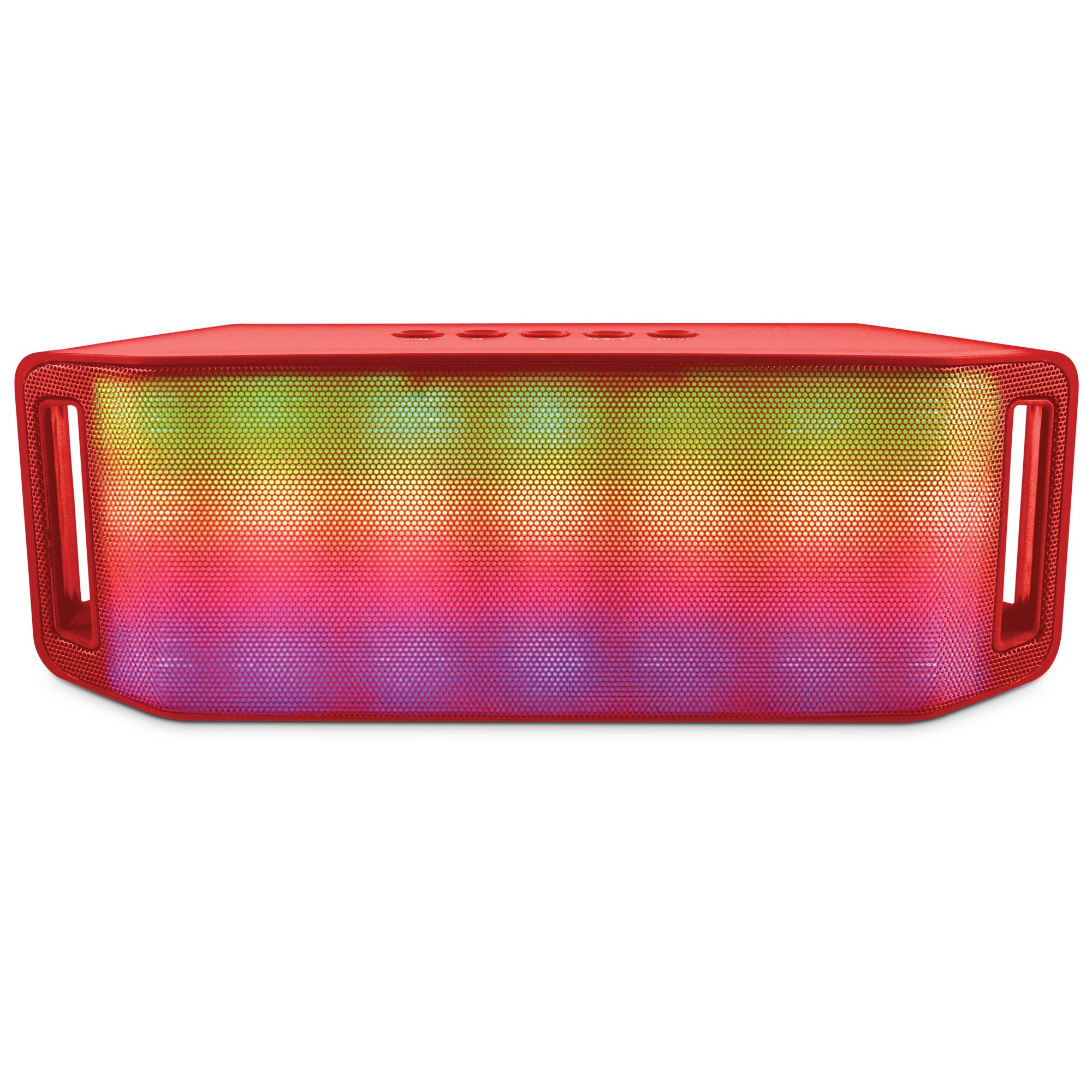 HyperGear Portable Rave Wireless Stereo Speaker Plays Booming Sound With An Interactive Multi-colored Light Show, Built-in Speakerphone & Built-in FM Radio. Pair Any Bluetooth Device Up To 8 hrs (Red) by HyperGear