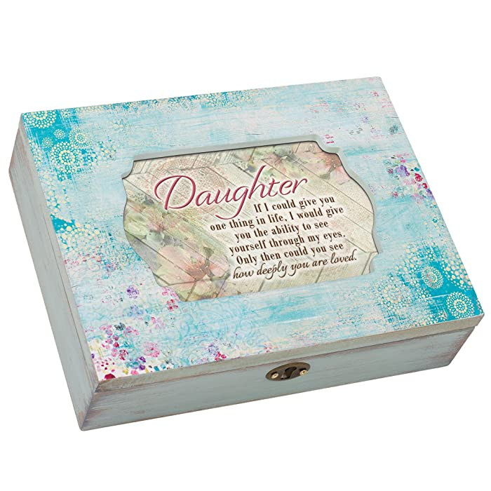 Cottage Garden Daughter You are Loved Aqua Medallion Decoupage Music Box Plays You are My Sunshine