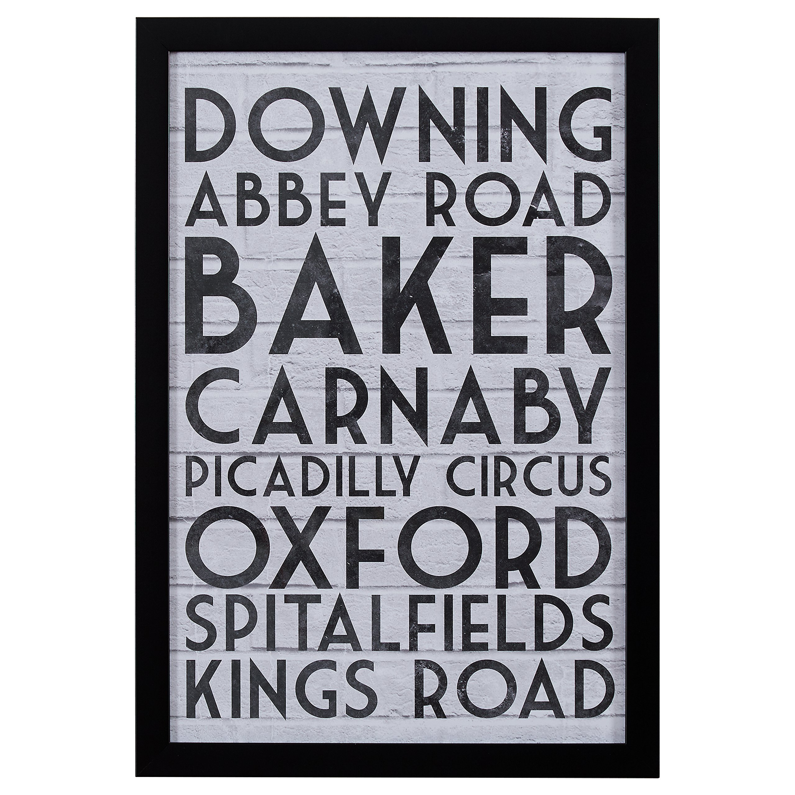 Modern Black & White London Street Names Print, Black Frame, 18'' x 26'' by Stone & Beam