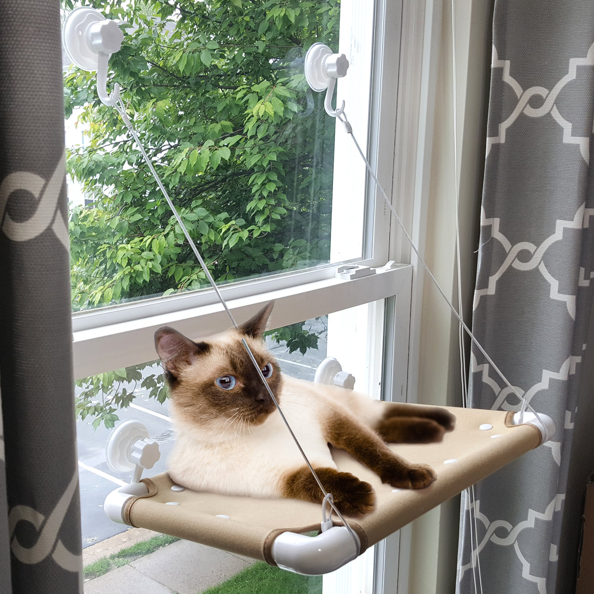Window Cat Perch by The Cats Cradle Kitty Hammock Cat Napper Seat |Safe to 40 lbs