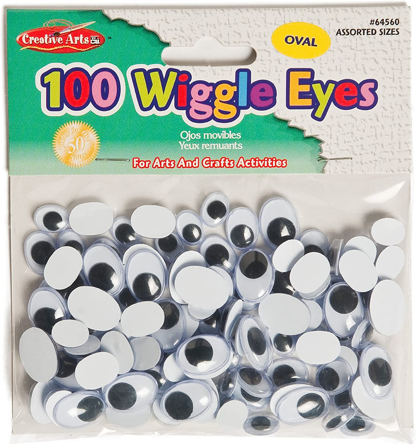 Creative Arts by Charles Leonard Wiggle Eyes 64565 15mm Oval 100//Bag Assorted Colors