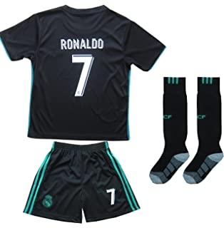 2017/2018 REAL MADRID #7 RONALDO KIDS AWAY SOCCER JERSEY & SHORTS YOUTH SIZES