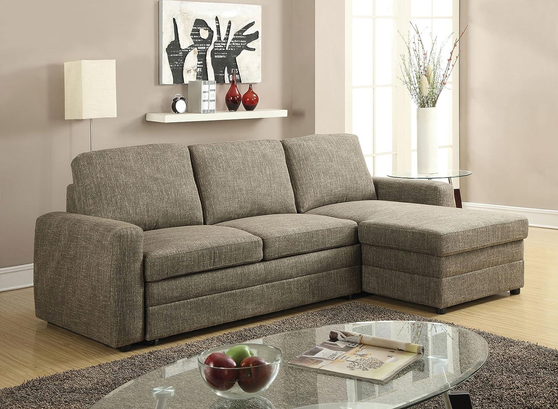 Amazon com acme furniture derwyn 51645 sectional sofa light brown linen kitchen dining