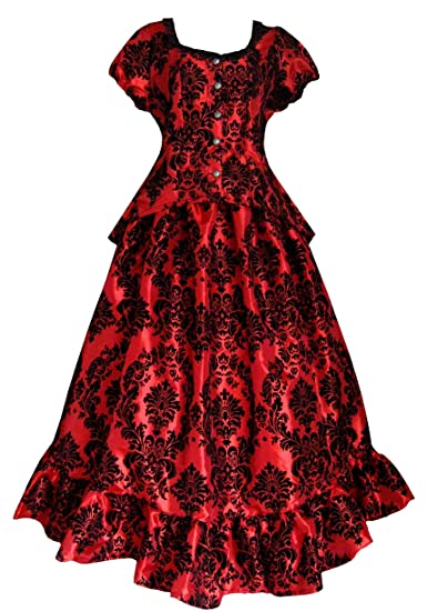 Old Fashioned Dresses | Old Dress Styles Victorian Valentine Steampunk Gothic Victorian Civil War Red Top & Skirt Dress                                                               Victorian Valentine Steampunk Gothic Victorian Civil War Red Top & Skirt Dress                               $138.00 AT vintagedancer.com