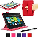 """rooCASE Amazon Kindle Fire HD 7 Case - (2013 Previous Generation) Slim Fit Multi Angle Tablet 7-Inch 7"""" Stand Cover - RED (With Auto Wake / Sleep Cover)"""