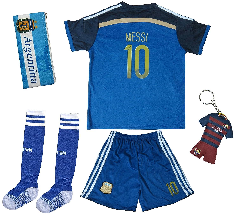 523ab797 2017 Argentina LIONEL MESSI #10 Away Soccer Kids Jersey \u0026 Short Set  Youth Sizes