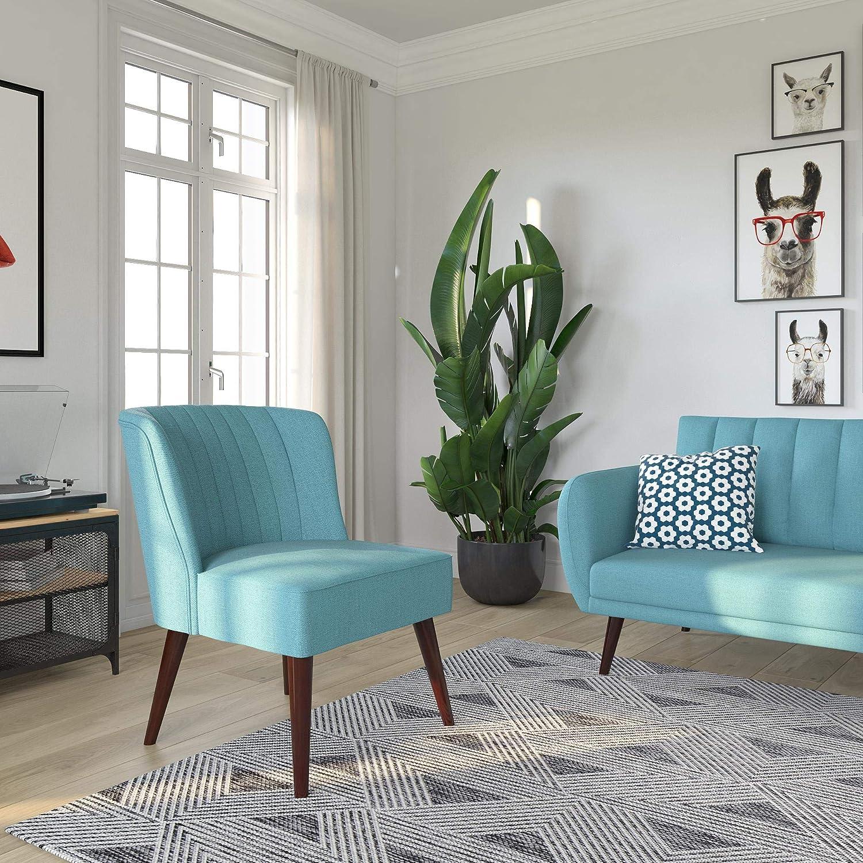 Novogratz 2307129N Brittany Upholstered Accent, Light Blue Linen Chair,