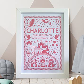 New Baby Boy Nursery Keepsake Christening Gift A4 Personalised Name Print