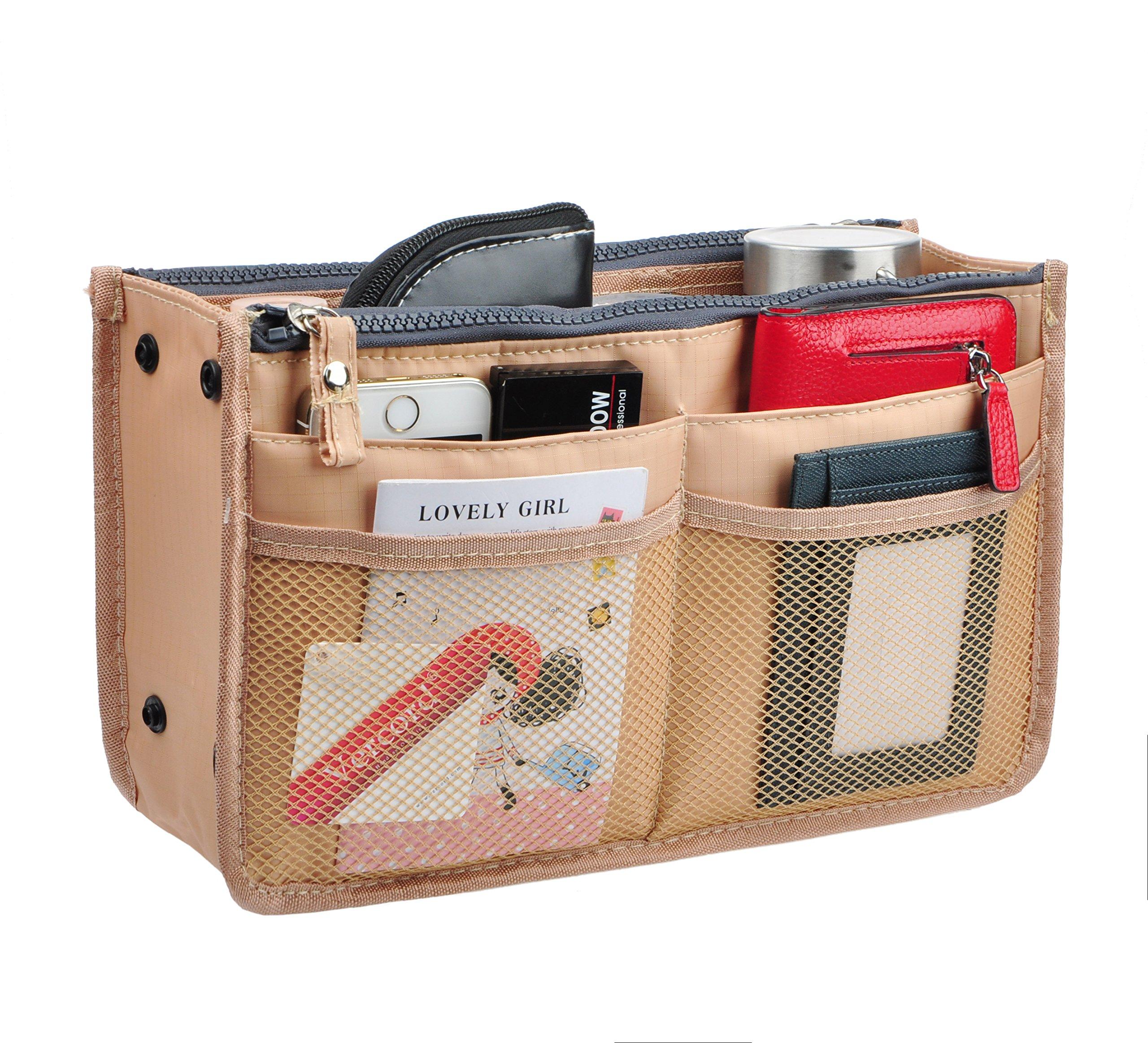 Vercord Updated Purse Handbag Organizer Insert Liner Bag in Bag 13 Pockets 3 Size, Khaki M
